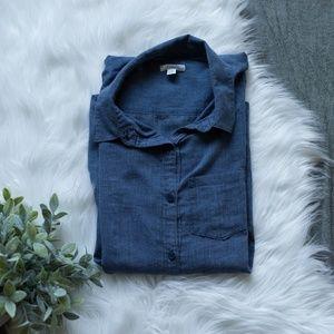 Caslon Blue Chambray Cotton Button Down Shirt L